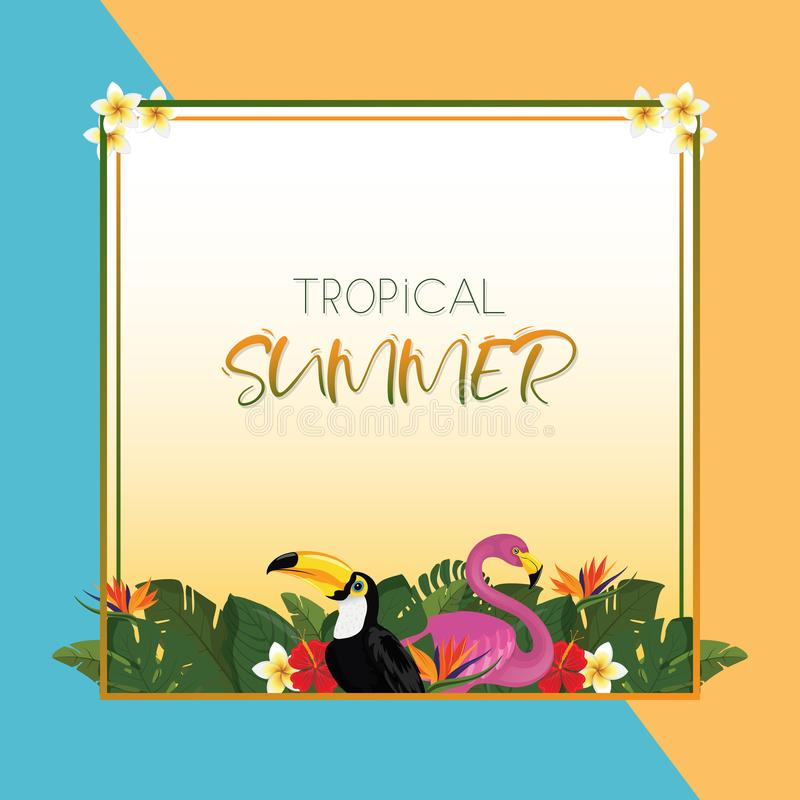 Tropical summer square frame design with exotic palm leaves, Hibiscus flowers, Toucan and Flamingo royalty free stock image