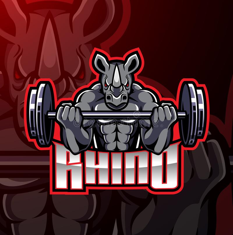 Rhino muscle barbel mascot design vector illustration