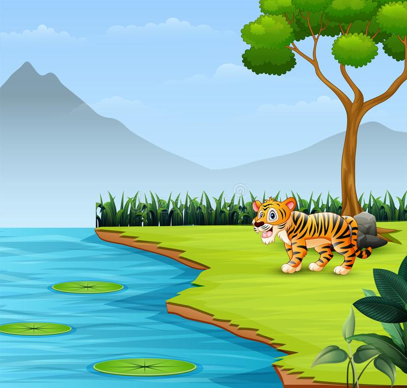 Cute baby tiger roars by the river. Cartoon illustration Cute baby tiger roars by the river royalty free illustration