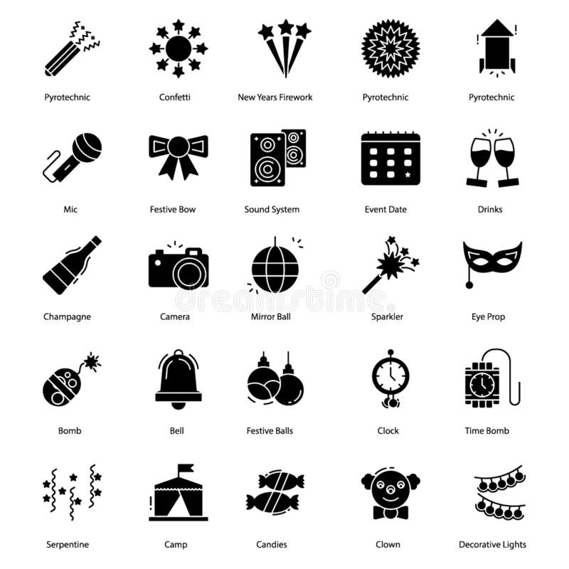 Firework Icons Pack. Is filled with party poppers, firecrackers, firework and complete visuals related to party celebration. Hold it to utilize it in best way vector illustration