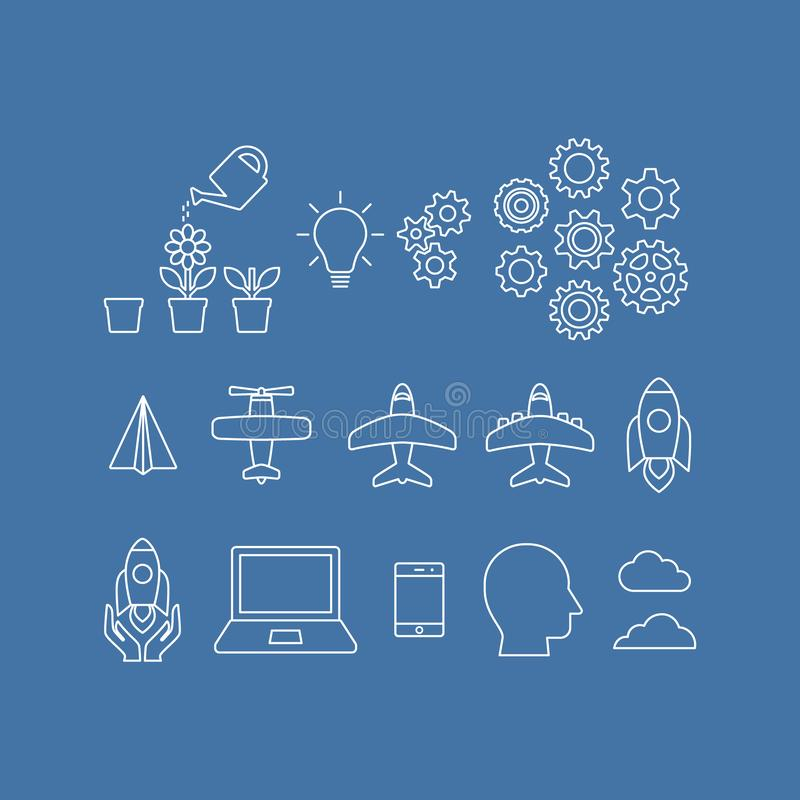 Business launch startup thin line vector icon set vector illustration