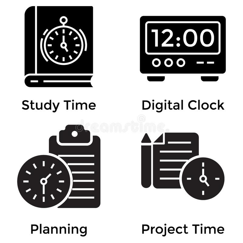 Time Glyph Icons royalty free illustration