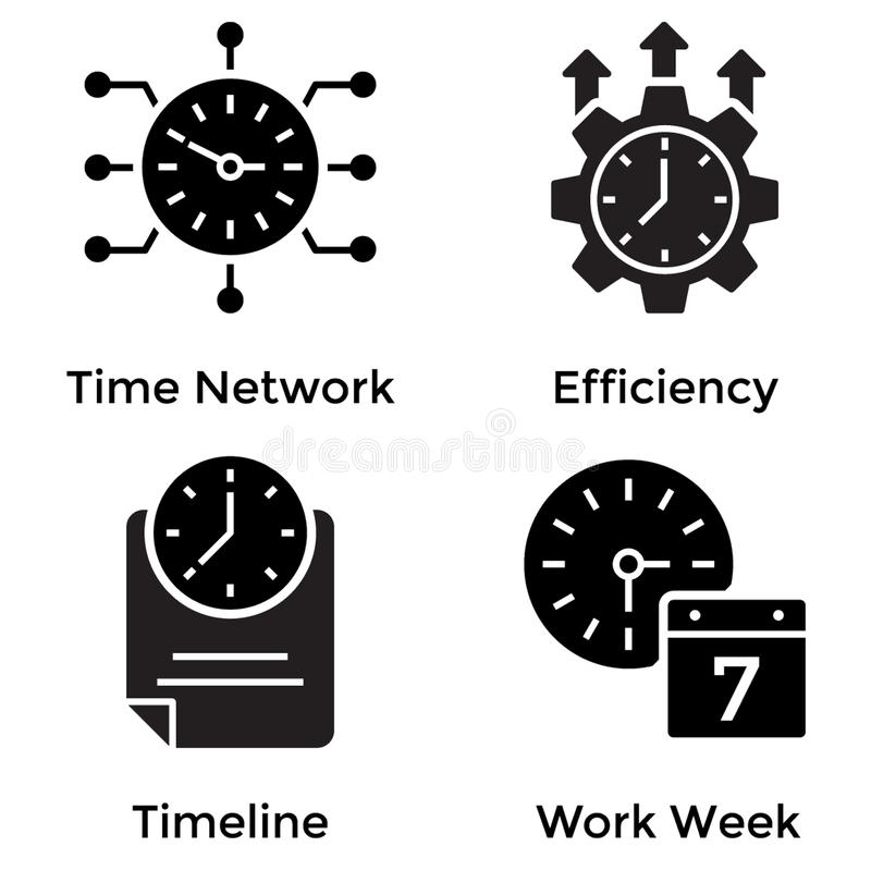 Clock Glyph Icons royalty free illustration