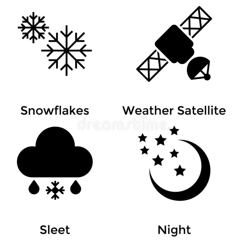 Pack of Weather Solid Icons royalty free illustration