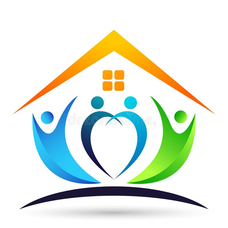 Happy family home/ house union, love heart shaped logo with sun on white background vector illustration