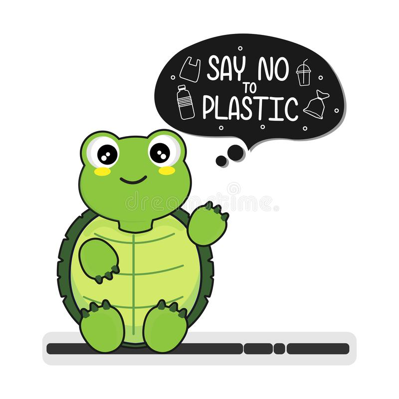Turtle say no to plastic.  Plastic pollution in ocean environmental problem. royalty free illustration