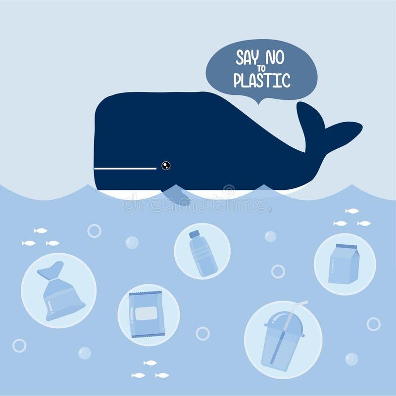 Stop ocean plastic pollution. stock illustration