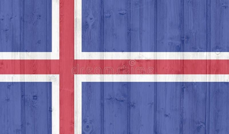 Iceland flag. Grunge iceland flag on wood royalty free illustration