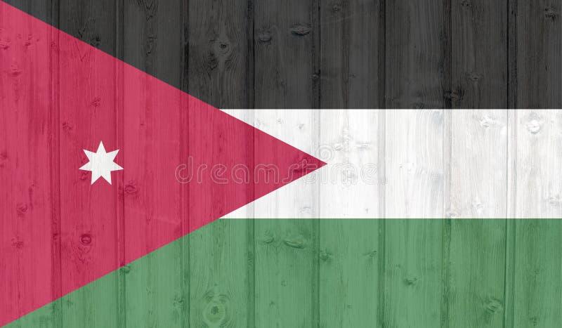 Grunge jordan flag. On wood vector illustration