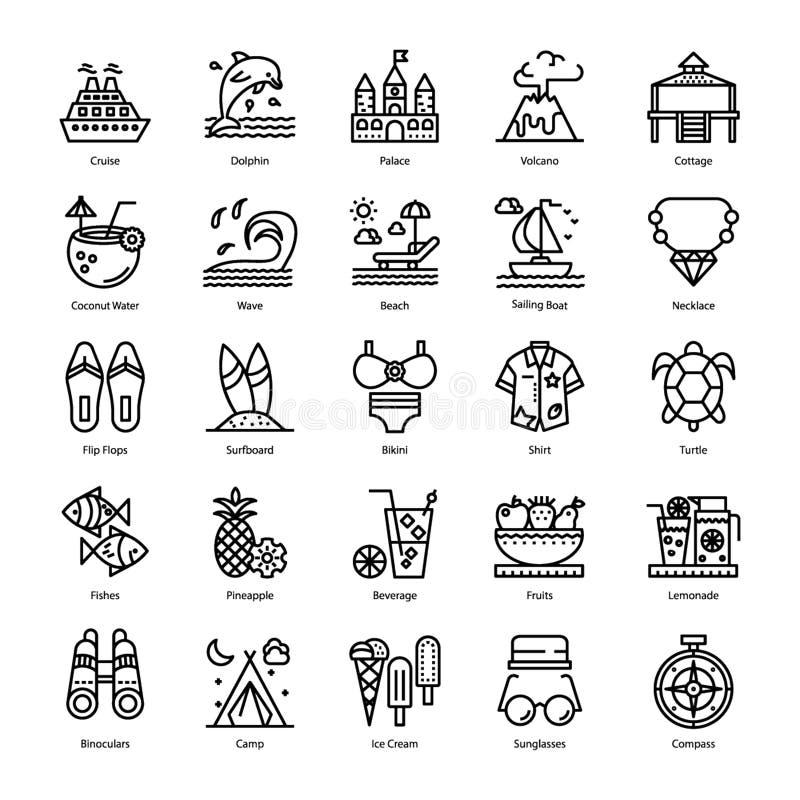 Summer Line Icons stock illustration