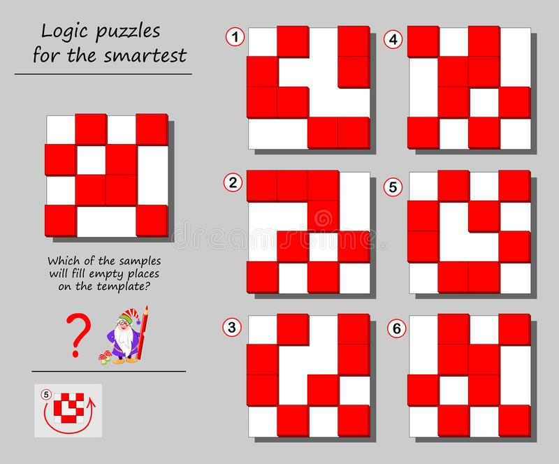 Logic puzzle game for smartest. Which of the samples will fill empty places on the template? Printable page for brainteaser book. Developing spatial thinking vector illustration