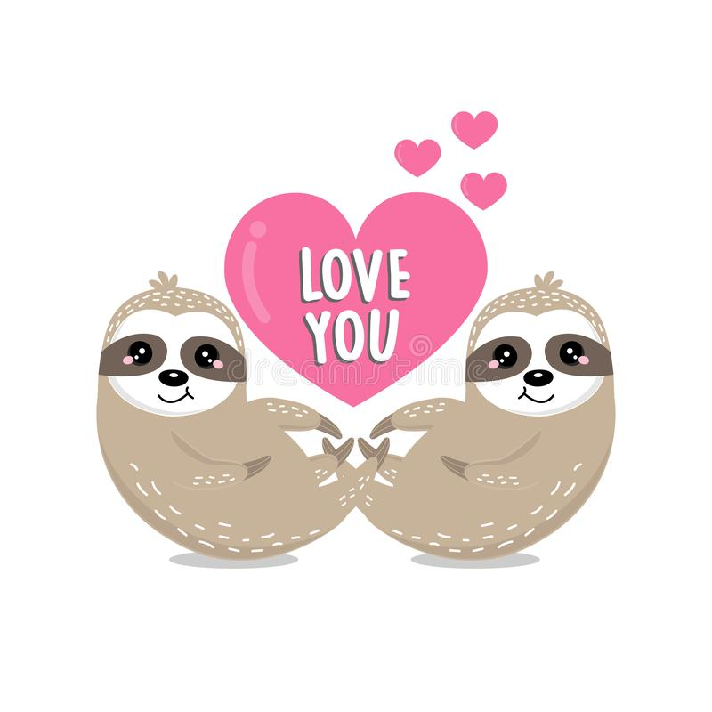 Happy Valentine`s day greeting card with couple sloth and heart. royalty free illustration