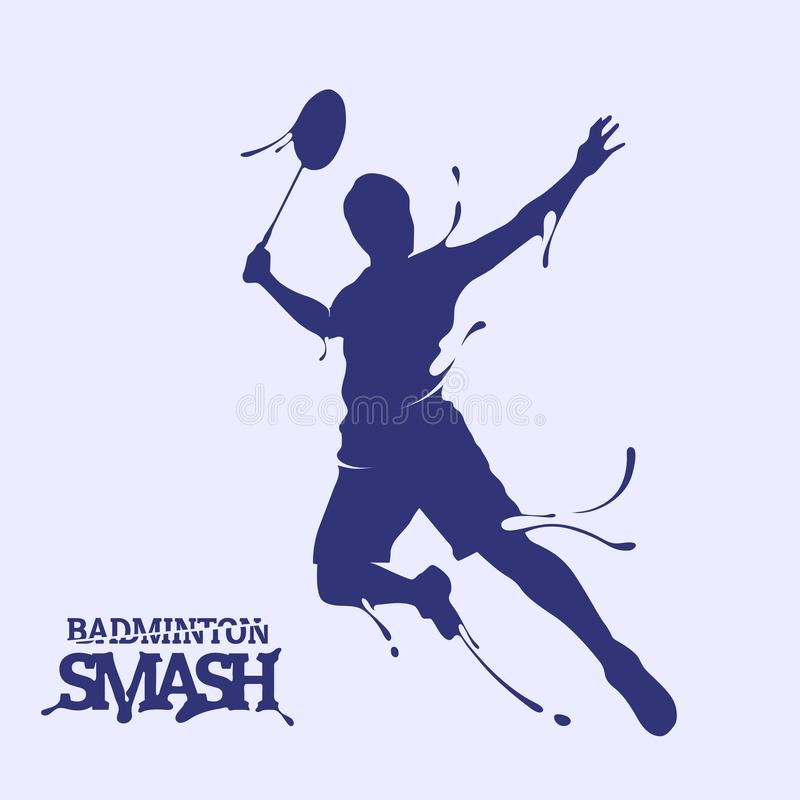 Badminton smash splash silhouette. For your illustration design royalty free illustration