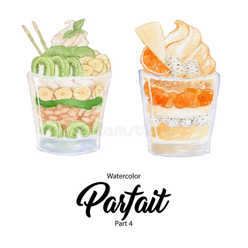 Watercolor Parfait Illustration Part 4 royalty free stock photo