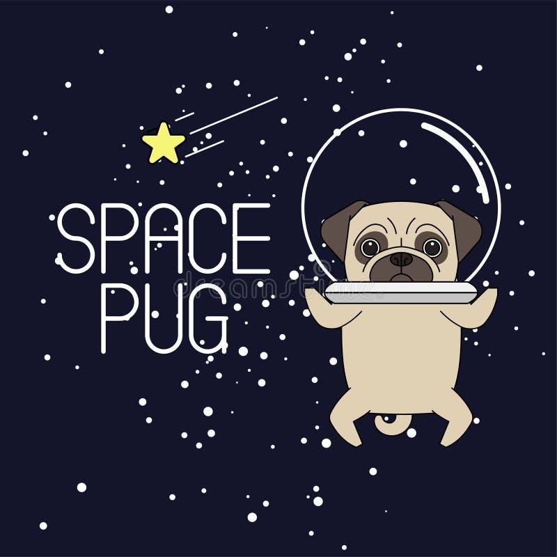 Pug in an astronaut`s helmet. Pug astronaut flies in space vector illustration