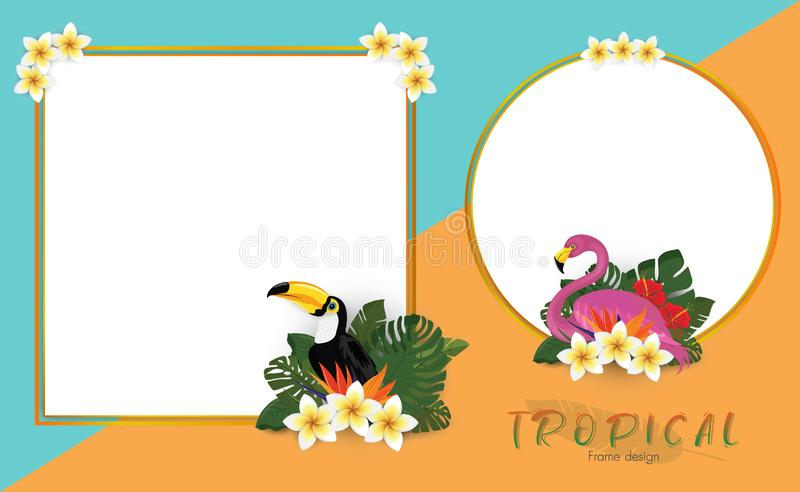 Tropical summer frame design with exotic palm leaves, Hibiscus flowers, Toucan and Flamingo stock photo