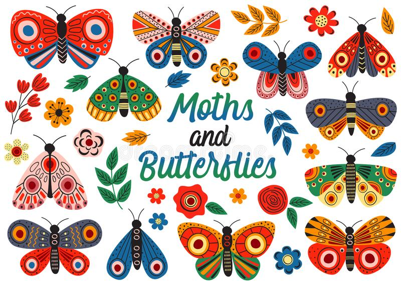 Set of isolated moths and butterflies. Vector illustration, eps stock illustration