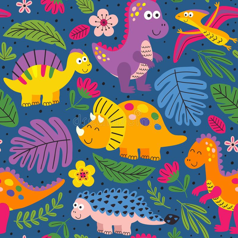 Colorful seamless pattern with cute dinosaurs. Vector illustration, eps stock illustration