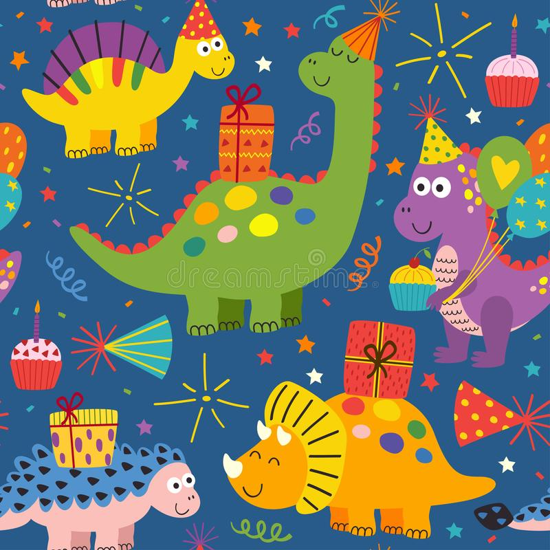 Colorful seamless pattern with cute dinosaurs Happy Birthday. Vector illustration, eps vector illustration