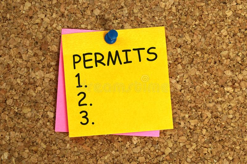 Permits sticky. Permits word on yellow sticky stock illustration