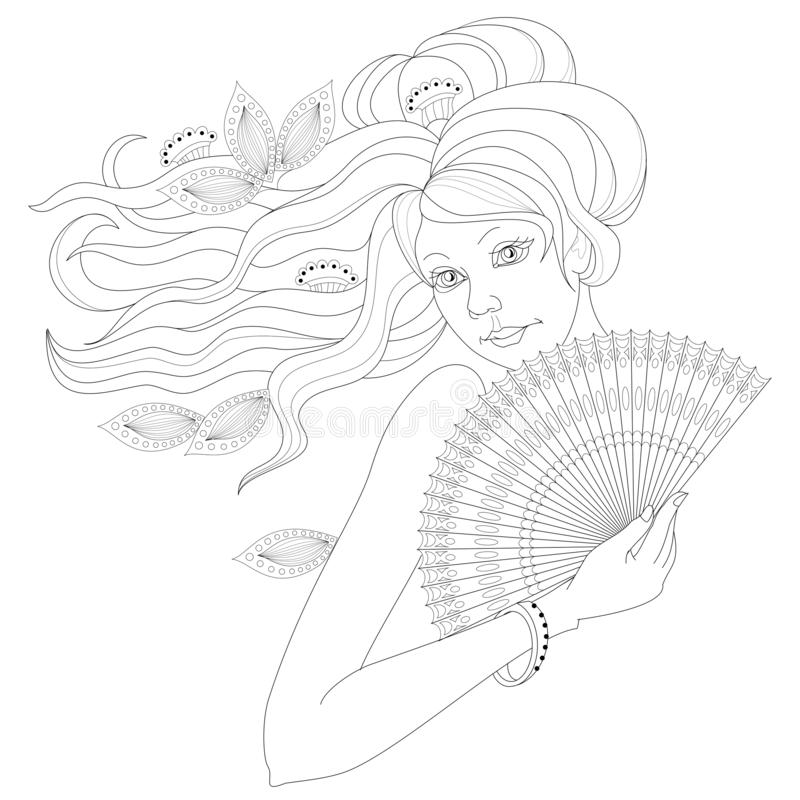 Black and white page for coloring. Fantasy drawing of lady with fan. Portrait of woman with fashionable hairstyle. Pattern for modern print, embroidery, Henna royalty free illustration