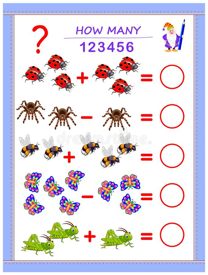 Educational page for children on addition and subtraction. Solve examples, count the quantity of insects and write numbers. Educational page for children on royalty free illustration