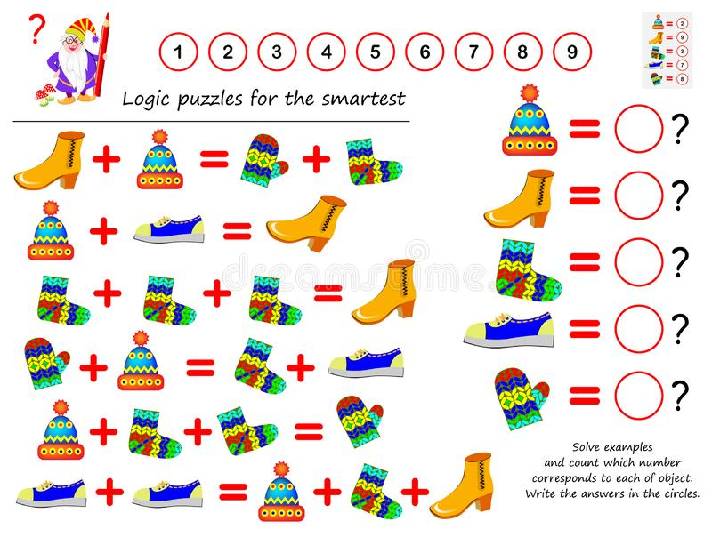 Mathematical logic puzzle game. Solve examples and count which number corresponds to each of object. Write the answers in circles. Printable page for stock illustration