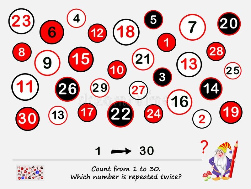 Logic puzzle game for smartest. Count from 1 to 30. Which number is repeated twice? Task for attentiveness. royalty free illustration