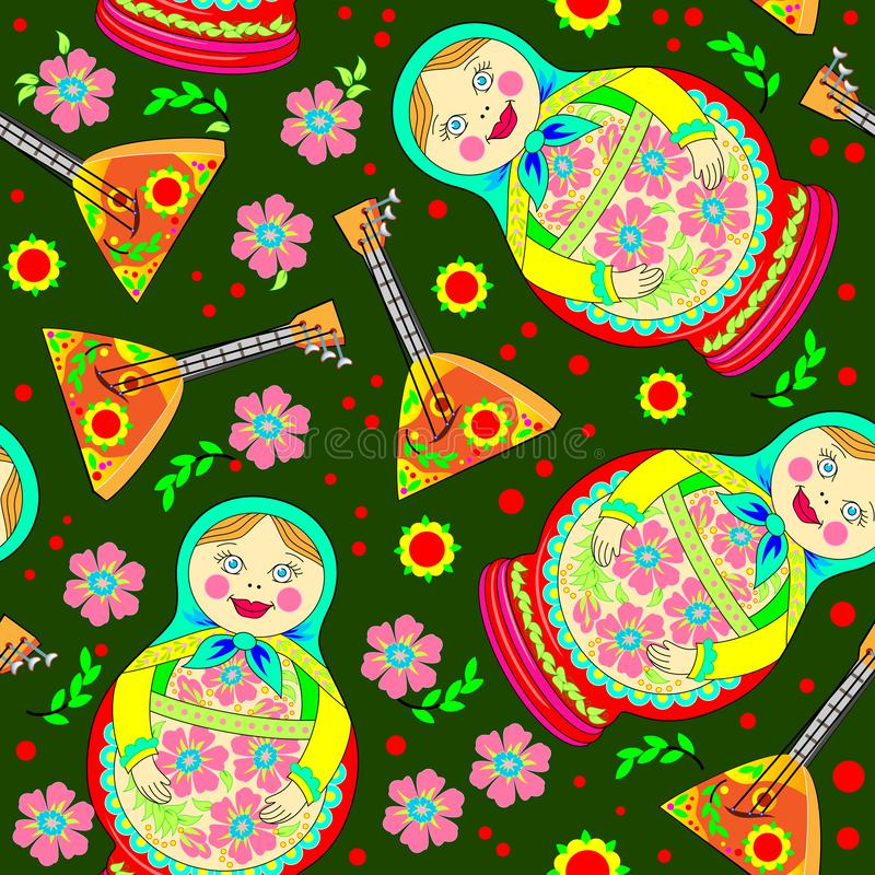 Seamless pattern ornament with Russian doll Matryoshka and musical instrument balalaika scattered on green background. Eastern ethnic decoration. Modern royalty free illustration
