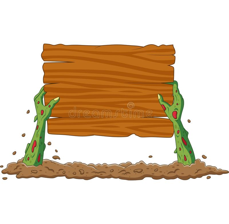 Cartoon zombie hands out of the ground holding blank sign royalty free illustration