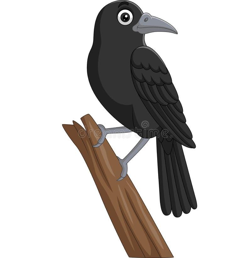 Cartoon crow standing on a tree branch stock illustration