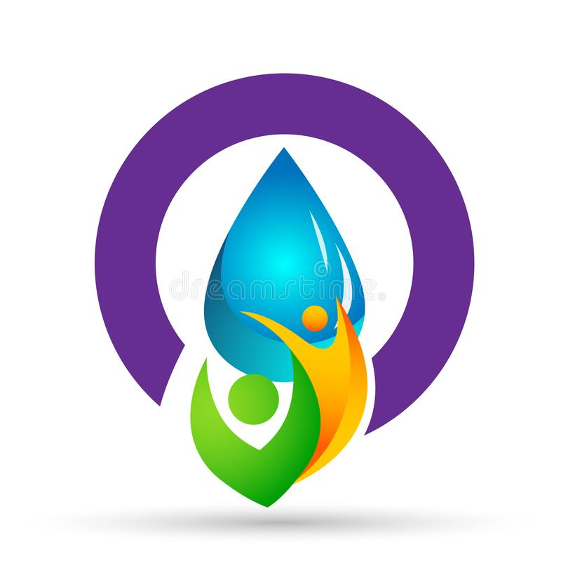 Water drop save water globe people life care logo concept of water drop wellness symbol icon nature drops elements vector design. Globe world Water water drop royalty free illustration