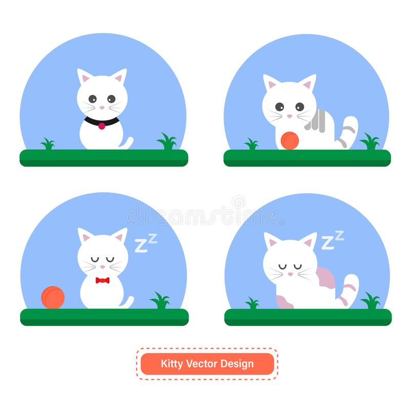 Cute Cat or Kitty Vector for icon templates or presentation background stock illustration