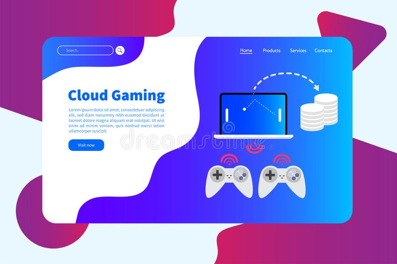 Virtual reality and cloud gaming banner template royalty free illustration