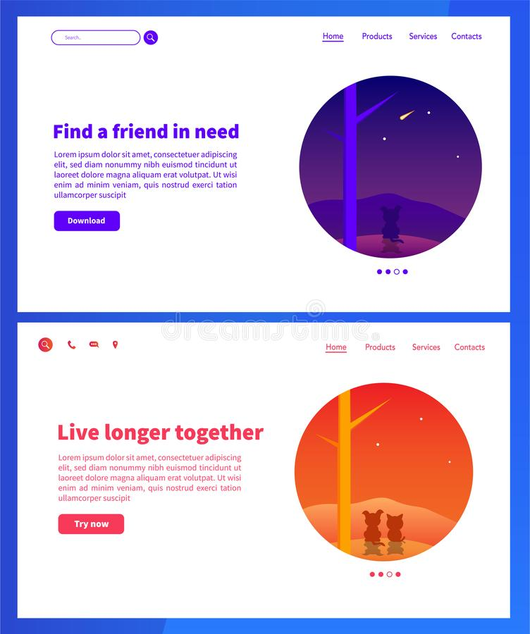 Animals web pages design. Landing pages design with blue and orange gradient royalty free illustration