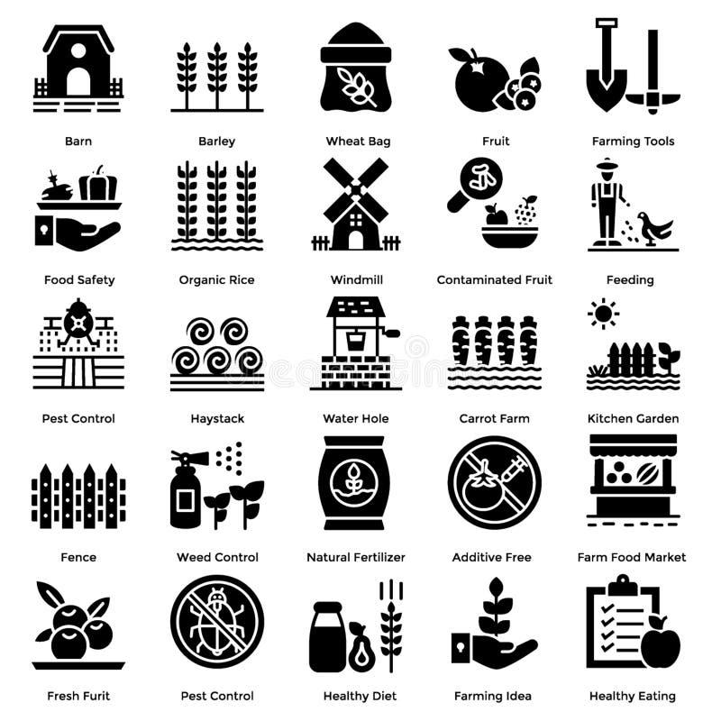 Farming Solid Icons Set stock photo