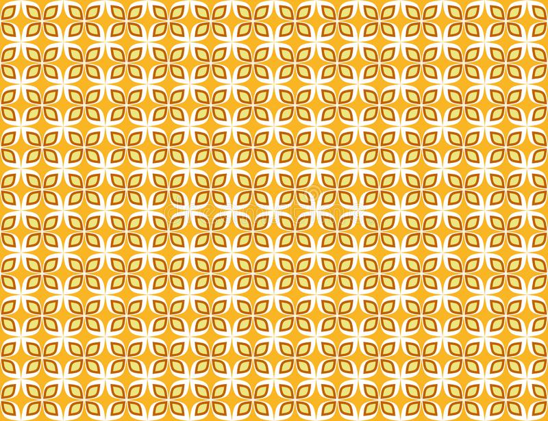 Abstract geometric seamless pattern white and gold floral ornamental. Background stock illustration