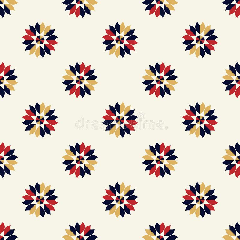 Bright background geometrical blue,red and cream white flower seamless pattern vector illustration