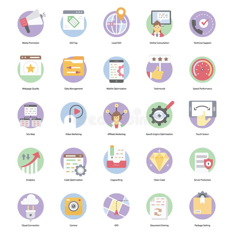 Seo Flat Icons Pack. Is representing seo related s in high quality  s, perfect for y kind of related design projects royalty free stock photography