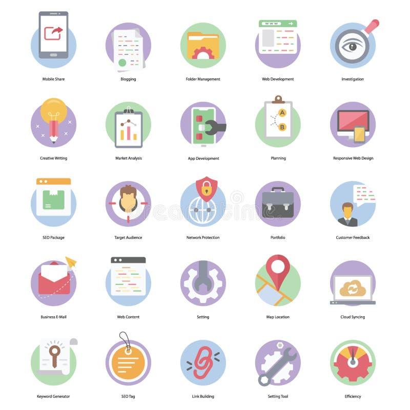 Seo Flat Icons stock photos