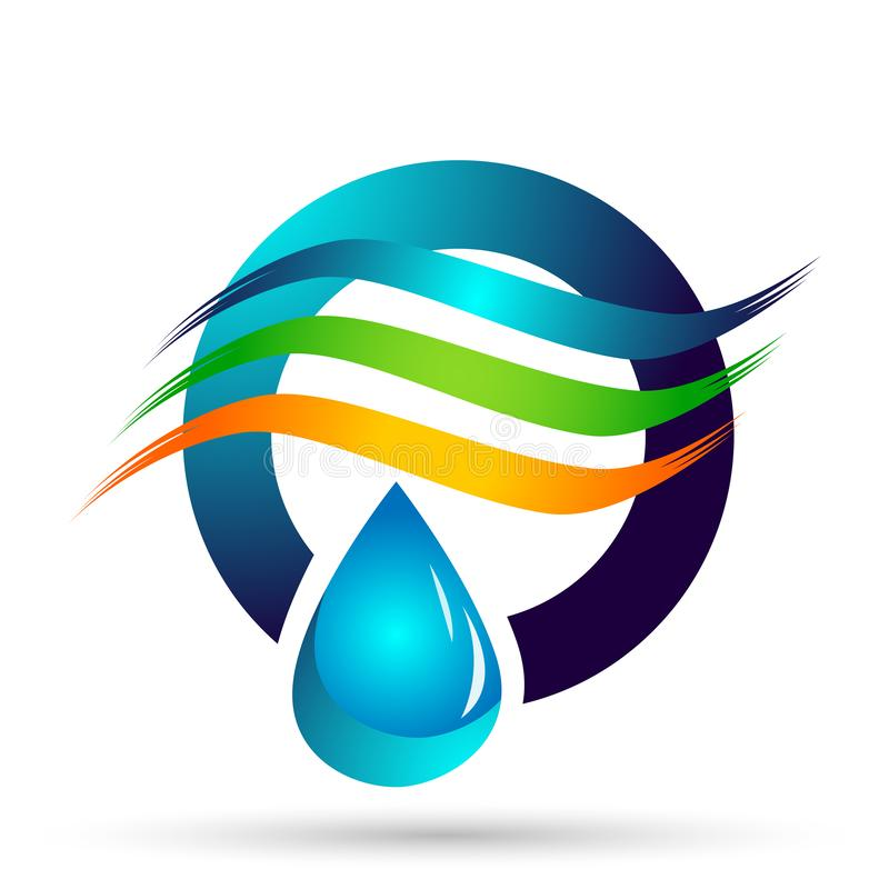 Water drop save water globe people life care logo concept of water drop wellness symbol icon nature drops elements vector design. Globe world Water water home royalty free illustration