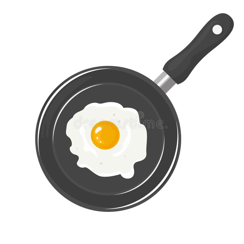 Fried egg in the pan isolated on white background. stock illustration