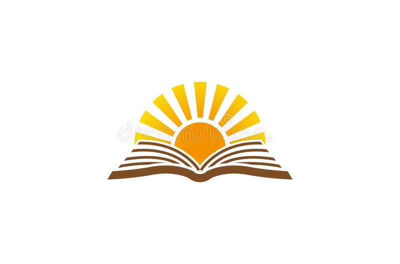 Creative Abstract Open Book Sun Logo Design Vector Symbol Illustration stock illustration