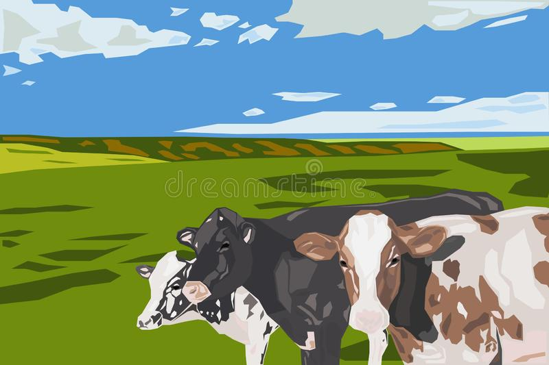 Cows on Grassland_Cloudy Weather_Card_Logo Icon Avatar_Eid Al Adha Mubarak stock illustration