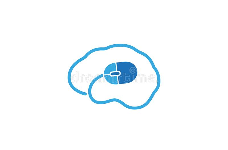 Creative Abstract Human Brain Computer Mouse Logo Design Vector Symbol Illustration. Creative Abstract Human Brain Computer Mouse Logo Design Vector Symbol stock illustration