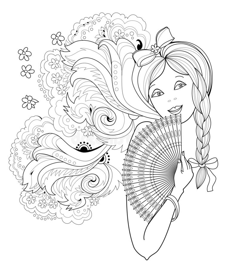 Black and white page for coloring book. Fantasy drawing of beautiful girl with fan. Portrait of woman with fashionable hairstyle. stock illustration