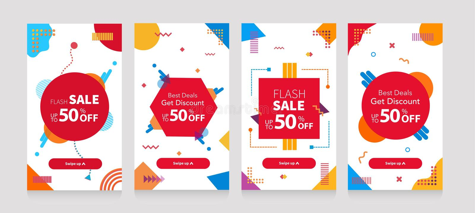 Dynamic modern geometry mobile for flash sale banners. Sale Discount banner template design, Flash sale special offer set stock illustration