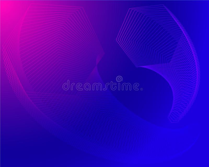 Geometric modern bright stylish hexagonal transitions technical vector in blue pink purple royalty free illustration
