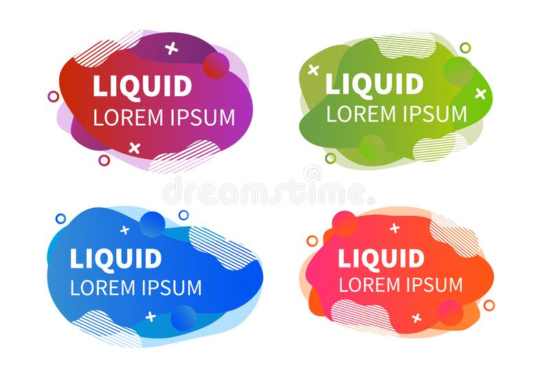 Geometric liquid colorful abstract shapes set. Modern design isolated white background. royalty free illustration
