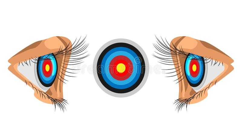 Eyes focus on the target. illustration of business competition. the target is focused on the eye. Eps10 vector file royalty free illustration